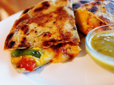 Shrimp Quesadillas from The Pioneer Woman Cooks. The Mexican red sauce gives it good flavor.