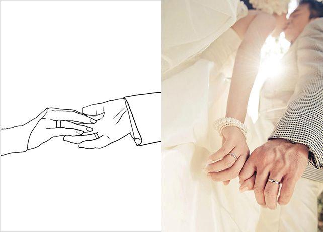 20 лучших поз для свадебной фотосессии, руки с обручальными кольцами