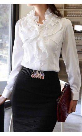 Charming - Womens high neck long sleeve ruffled blouse - Apostolic Clothing #modest #ruffles #tops