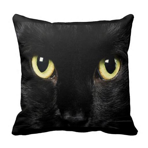 Black Cat Face Design Throw Pillow Home Decor