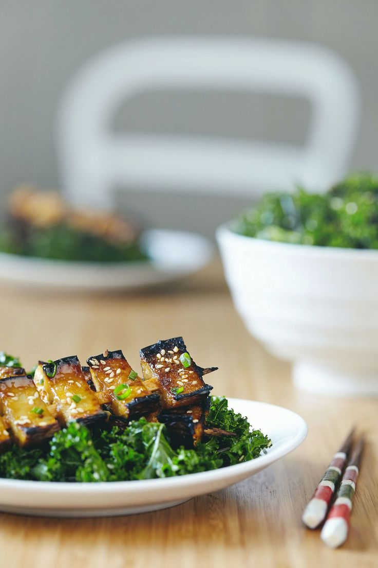 Miso Glazed Eggplant Kebabs with Kale Seaweed Salad — Natural Girl Modern World