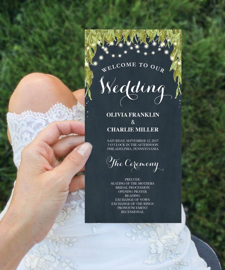 Wedding program inspiration - natural navy wedding program - wedding trends 2017- creativeuniondesign.etsy.com https://www.etsy.com/listing/488192805/wedding-program-template-4x8-wedding