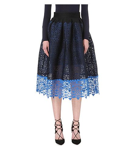 MAJE Journee Embroidered Mesh Midi Skirt. #maje #cloth #skirts