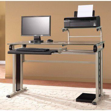 Homelegance Network Metal Computer Desk w/ Printer/ Monitor Shelf by Homelegance. $376.71. Metal computer desk. Tempered glass top. Belongs to Network Collection. Contemporary Style. Keyboard tray. What is included:Computer Desk (1) This metal and glass industrial style computer desk features a tempered glass top, keyboard tray, and upper printer/ monitor shelf. Champagne finish metal.