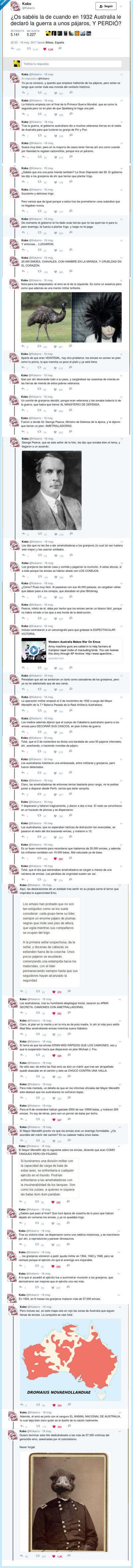 El desternillante hilo sobre una guerra contra los emús que te hará un poco más sabio, por @Kokarro