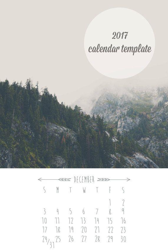 2017 calendar template, photographic calendar, calendar, template, loose leaf, 4x6, downloadable, desk top calendar, customizable