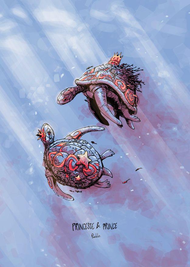 Princess turtle king keen tortue princesse prince roi reine couronne dessin illustration art by  Le Pueblo