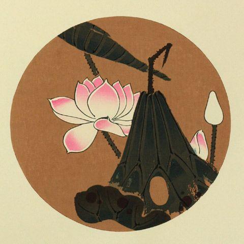 伊藤若冲『蓮花(はす)』-「花卉図天井画」Jakuchu Ito