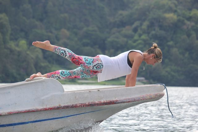 Making the most of our boat trip across Lake Batur on our Fusion Fitness Retreat. Bali Bliss.