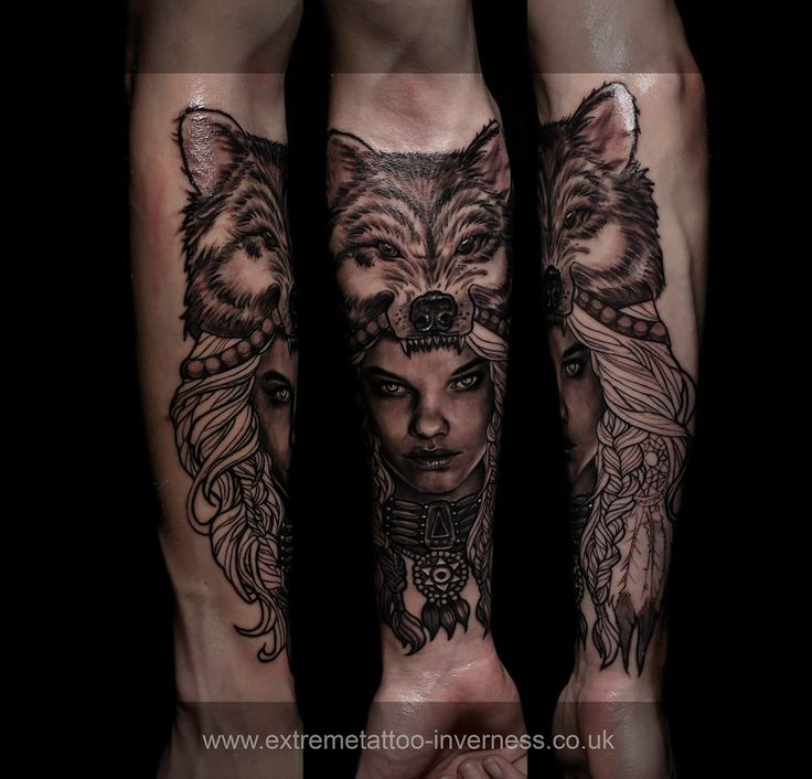 Scottish Highlander Tattoo: Wolf Hooded Girl,done At Extreme Tattoo&Piercing Inverness