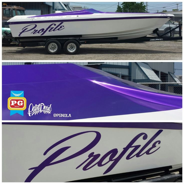 A late model Profile speed boat, getting a face-lift with some fresh Candy Amethyst Purple. All done using knifeless tape, minus the names. #pgnola, #paintisdead, #layednotsprayed, #paintwrap, #colorchange, #candywrap, #wrapped, #wrapcity, #idwrapthat, #candypurple, #mattemetallic, #amethyst, #arlon, #boatwrapsneworleans, #boatwrapslouisiana, #boatwrap, #purplewrap, #purplemetallic, #profile, #profileboat, #speedboat, #pokerrun,