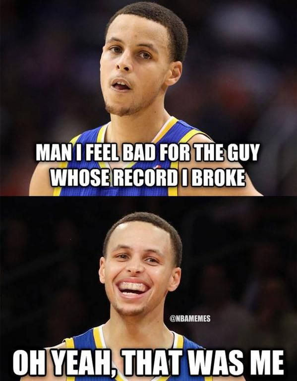 When Stephen Curry BROKE his OWN 3-point RECORD. #Warriors - http://nbafunnymeme.com/nba-memes/when-stephen-curry-broke-his-own-3-point-record-warriors