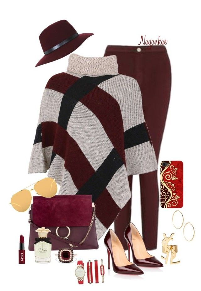 """Burgundy 10"" by nayankae on Polyvore featuring mode, Miss Selfridge, Izabel London, Yves Saint Laurent, Christian Louboutin, GUESS by Marciano, NYX, Dolce&Gabbana, Effy Jewelry et Linda Farrow"