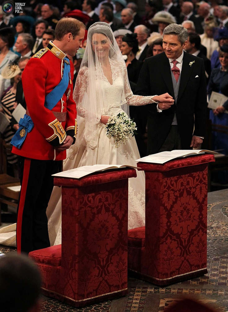 Britains Prince William Stands At The Altar With His Bride Kate Middleton And Her Father Michael During Their Wedding Ceremony Westminster Abbey