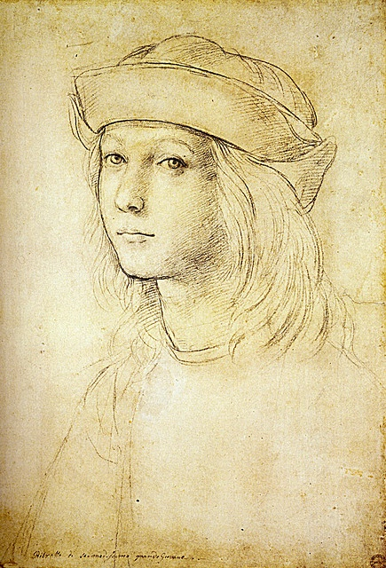 Raphael, age 13, self portrait using a technique (I think) called silver etching? Details aside, a nicely proportioned self portrait, simple yet captures the face.