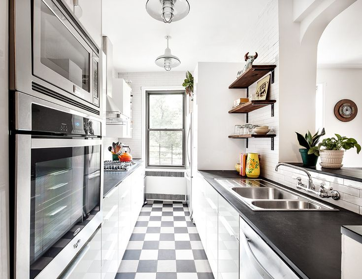 Black and White Checkered Tea Kettle Transitional Style for Kitchen with Pendant Lights by Regan Wood Photography in New York, uncategorized from Black and White Checkered Tea Kettle Transitional Style for Kitchen with Window by Regan Wood Photography in New York