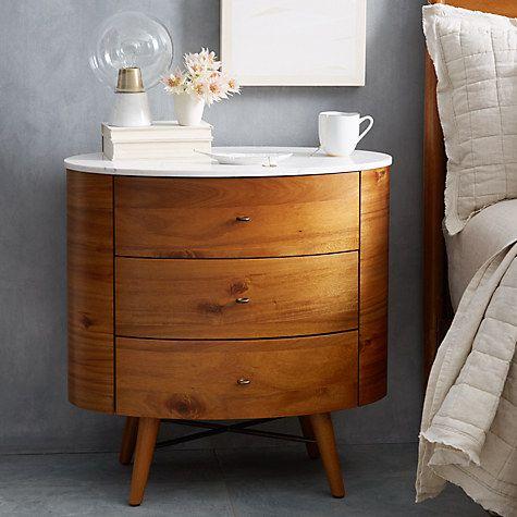 Buy west elm Penelope 3 Drawer Bedside Table Online at johnlewis.com