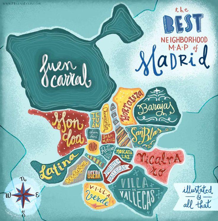 Neighborhoods of Madrid Map. Hand Lettering and Illustration  ww.helenaecija.com