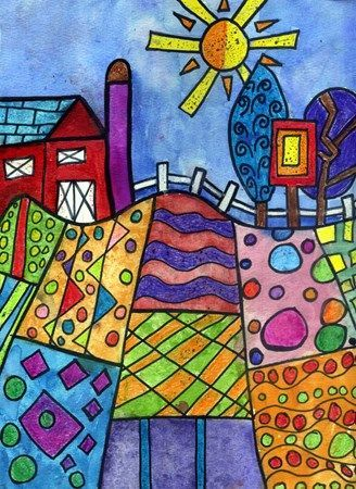 Folk art landscape. Crayon with watercolor wash.