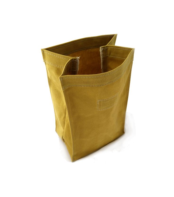 Waxed canvas lunch bag in mustard.  www.vacatecarry.com