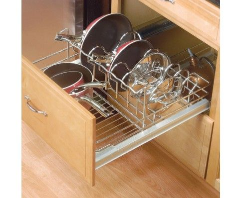 cookware organizer for base cabinets chrome crominox wire - Accessories For Kitchen Cabinets