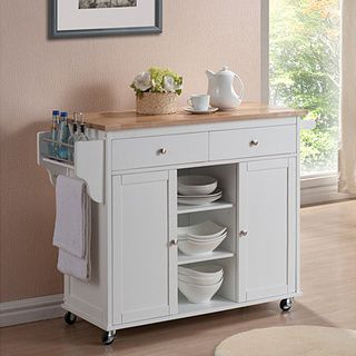 Meryland White Modern Kitchen Island Cart | Overstock.com Shopping - The Best Deals on Kitchen Carts
