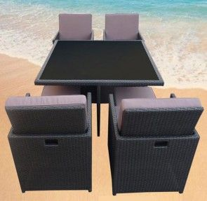 Dining Set 9 Pce (High Back) - Rattan Wicker Outdoor Furniture Charcoal