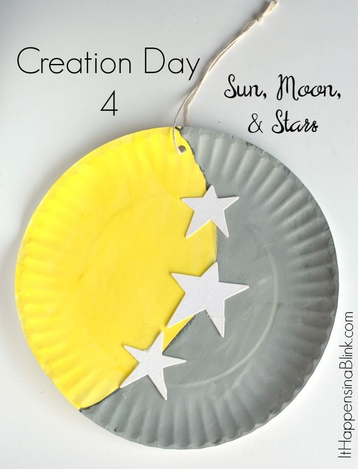 Creation Day 4: Sun, Moon, and Stars  |   A kid's craft centered around the fourth day of creation. Great for Sunday School, children's church, or VBS. This craft is a part of the Craft Through the Bible Series.
