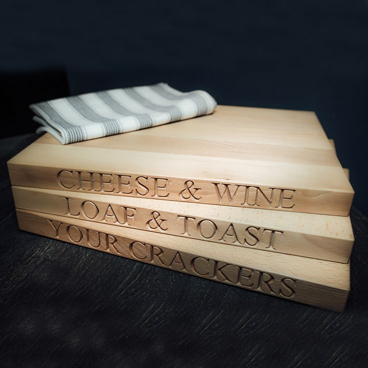 Wooden Chopping Board Large - 'Loaf & Toast'. Engraved Beech Wood Collection | Culinary Concepts