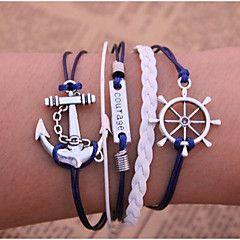 Bracciali Bracciali a catena e maglie / Dell'involucro del braccialetto / Bracciali d'epoca / Bracciali in pelle Lega / Pelle Ancora