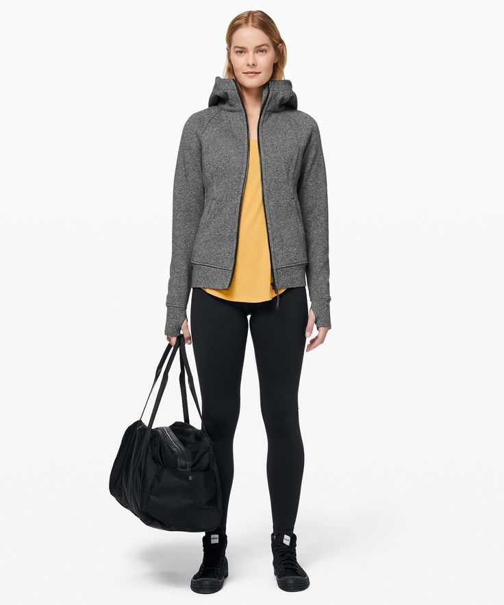 lululemon Women's Scuba Hoodie Light Cotton Fleece, Heathered Speckled Black, Size 4 7