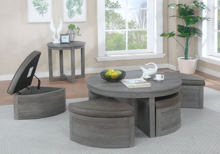 Darien gray 3 pc table set with storage ottomans in 2020