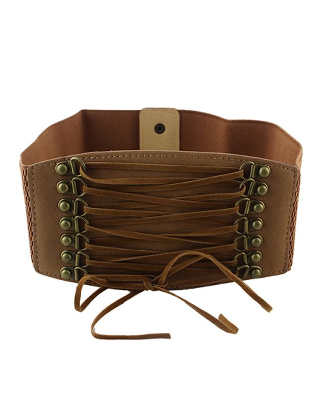 brown pu leather elastic wide belt shops cats and leather