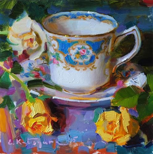 """Daily Paintworks - """"Teacup and Yellow Roses"""" - Original Fine Art for Sale - © Elena Katsyura"""