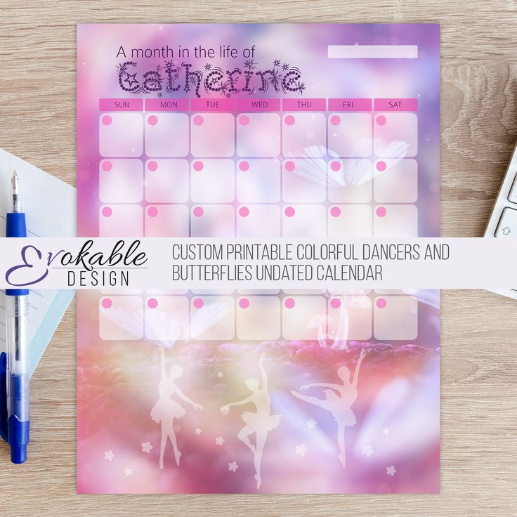 Custom Printable Colorful Dancers and Butterflies Undated Calendar by EvokableDesign on Etsy