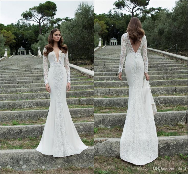 Wholesale Long Sleeves - Buy 2014 Berta Deep V Neck Lace And Satin Pearls Hollow Long Sleeves Fitted Fish Style Wedding Dresses Backless Chapel Train Bridal Gown BRI-288, $189.65 | DHgate