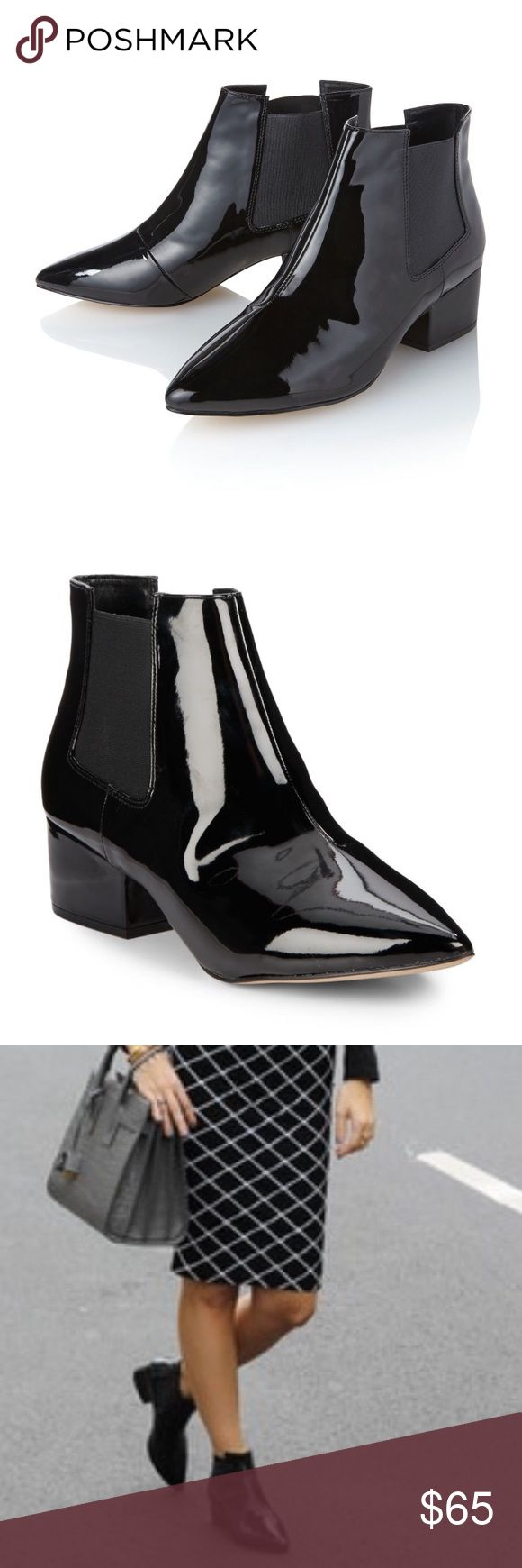 French Connection Ronan Boots Patent-finish Chelsea boots. These offer a dose of British cool kid to any outfit. Will post pics of actual boots this week! French Connection Shoes Ankle Boots & Booties