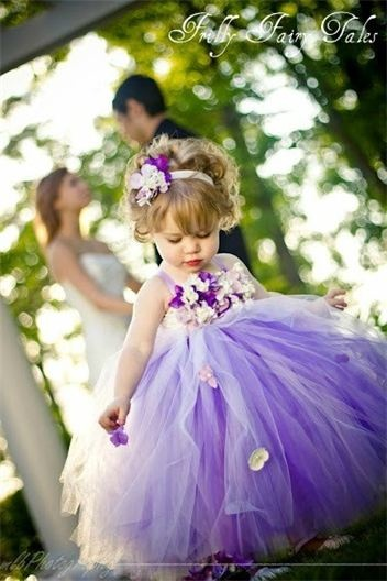 Purple flower girl dress...so cute! I think my two flower girls and Jr brides made would look so cute is these!!