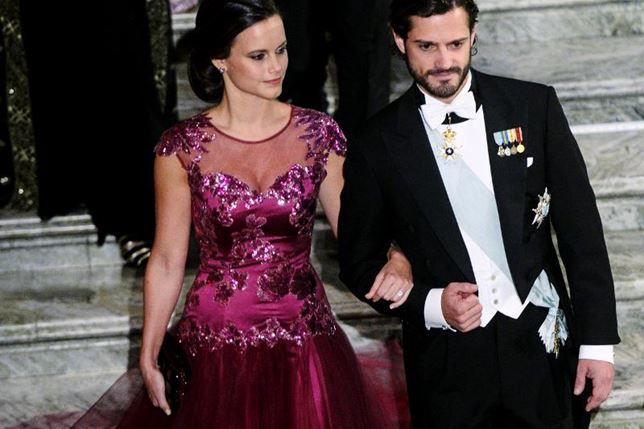 Dåvarande Sofia Hellqvist och prins Carl-Philip, Nobel 2014.