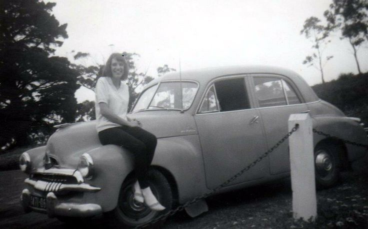 My girlfriend Colleen sitting on my 1954-55 Holden (GMH) FJ - about 1965.