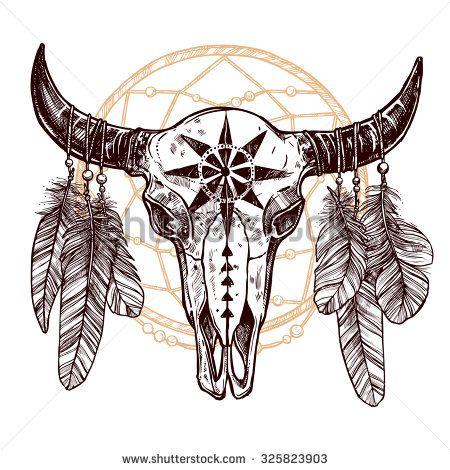 native american drawings skull of bufallo - Google Search