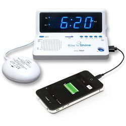 Rise 'n Shine Portable Alarm Clock with Bed Shaker
