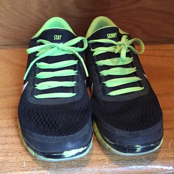 """Nike ID Free Runs Nike ID Free Runs """"STAY SKINNY"""" in women's size 6.5. Black with neon green laces and sole. Worn. No Box. Nike Shoes Athletic Shoes"""