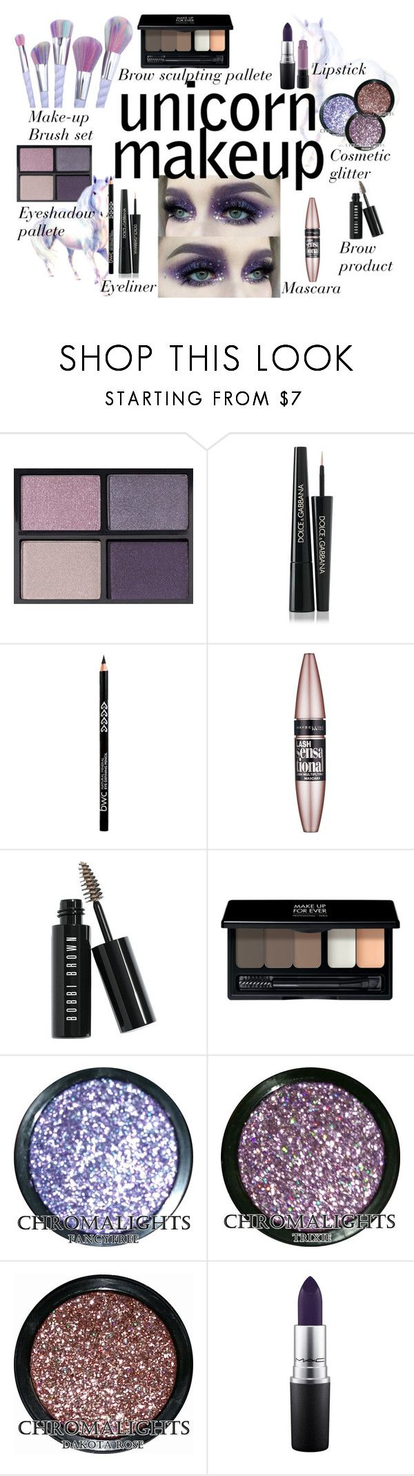 """Unicorn Make-up"" by fashion-nova ❤ liked on Polyvore featuring beauty, Tom Ford, Dolce&Gabbana, Maybelline, Bobbi Brown Cosmetics, MAKE UP FOR EVER and MAC Cosmetics"