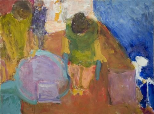 Café by the Sea, Girls in Green . Oil on canvas . 91 x 117cm . Sargy Mann