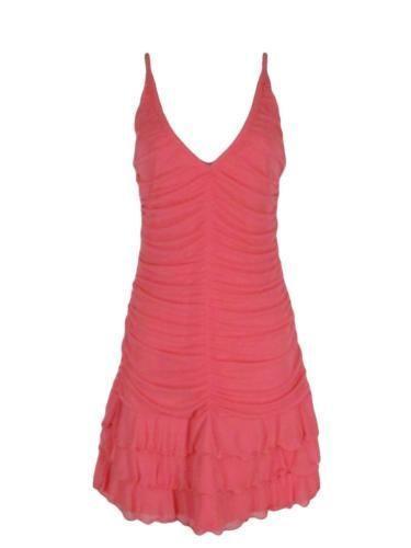 Victorias Secret Moda International Dress M Coral Pink Ruched Tiered Bodycon