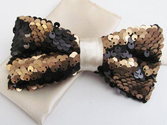 Floral Pocket Square Wedding Tie // UK Brown Tie Brown Check Wool Bow Tie