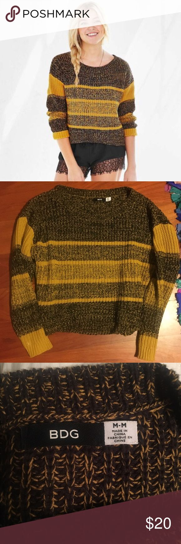 Urban outfitters mustard crop sweater Urban outfitters BDG mustard and black knit sweater Urban Outfitters Sweaters Crew & Scoop Necks