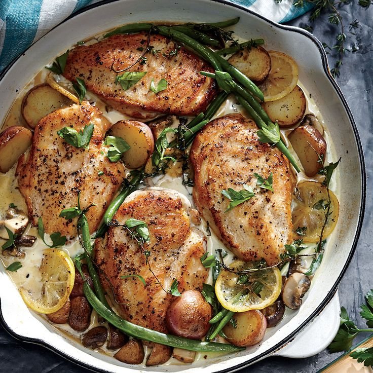 Lemon Chicken Skillet Dinner - It doesn't get much easier, or more satisfying: a complete dinner in one pan in half an hour. Lemon brightens this cozy winter meal.: