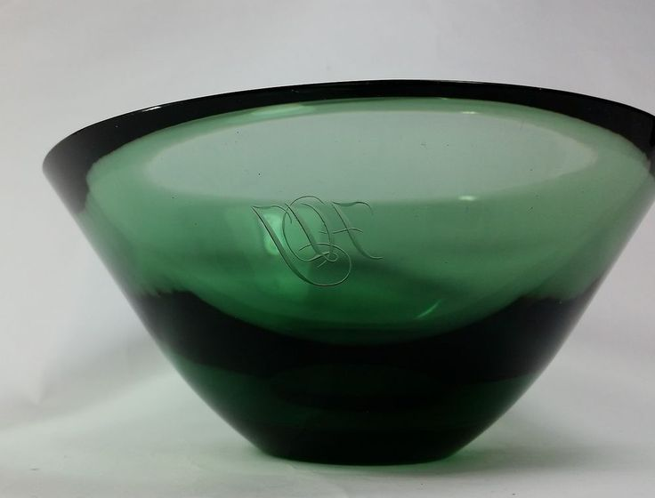 Karhula Finnish Art Glass Bowl Goran Hongell 1930s Iittala Finland Monogrammed #FinnishArtGlass Bowl #GoranHongell #ArtGlass #Iittala #FinlandGlass #MCMGlass #Karhula